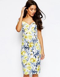Asos Bardot Off The Shoulder Hitchcock Midi Pencil Dress In Yellow And Blue Floral Multi