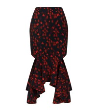 Givenchy Floral Cut Out Midi Skirt Female Multi