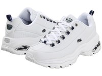 Skechers Premiums White Smooth Leather Navy Trim Women's Lace Up Casual Shoes