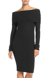 Nsr Women's Off The Shoulder Body Con Sweater Dress Black
