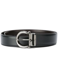 Salvatore Ferragamo Dark Grey Buckle Belt Black