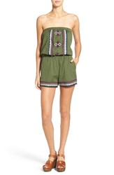 Angie Women's Embroidered Strapless Romper