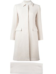 Prada Vintage Single Breasted Coat And Skirt Suit White