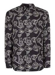 Topman Black And White Abstract Poppy Print Casual Shirt