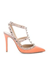 Valentino Rockstud Leather Slingbacks T.100 In Orange