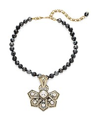 Heidi Daus Beaded Crystal Flower Pendant Necklace Black Gold