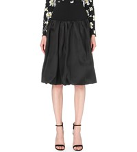 Oscar De La Renta Ruched Silk Bubble Skirt Black