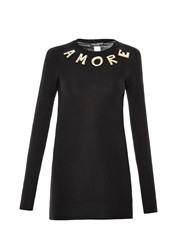Dolce And Gabbana Amore Embroidered Cashmere Sweater