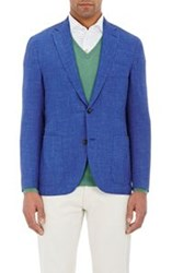 Luciano Barbera Slub Two Button Sportcoat Blue