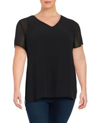 Vince Camuto Plus Hi Lo Short Sleeve Chiffon Top Black
