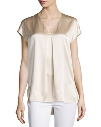 Vince Cap Sleeve Silk Popover Blouse Rose Water Women's Size Xx Small
