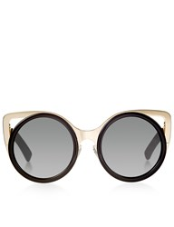 Linda Farrow X Erdem Black Gold Rim Round Sunglasses