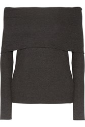 W118 By Walter Baker Lydia Off The Shoulder Ribbed Knit Top Charcoal