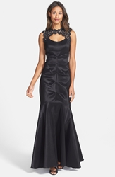 Xscape Evenings Lace And Taffeta Mermaid Gown Black