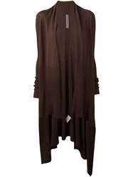 Rick Owens Long Wrap Cardigan Brown