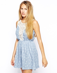 Jasmine Chambray Dress With Lace Insert Blue
