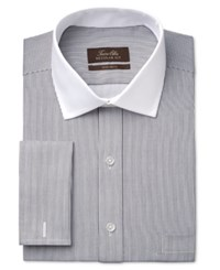 Tasso Elba Men's Classic Fit Non Iron Sateen Bengal Stripe French Cuff Dress Shirt Only At Macy's Black