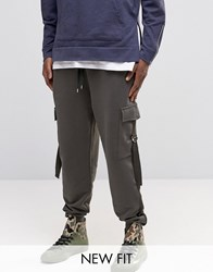 Asos Tapered Joggers With Cargo Pockets And Taping Khaki Green