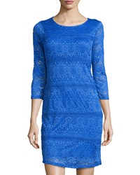 Neiman Marcus 3 4 Sleeve Lace Dress Brilliant Blue