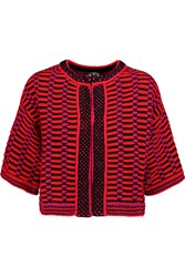 M Missoni Cropped Crochet Knit Cotton Blend Jacket Red