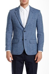 Jack Spade Harper Genuine Leather Trim Herringbone Blazer Blue