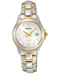 Seiko Women's Solar Dress Two Tone Stainless Steel Bracelet Watch 27Mm Sut250