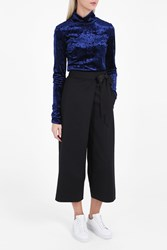 Tibi Velvet Roll Neck Top Navy