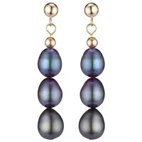 A B Davis 9Ct Yellow Gold Triple Pearl Drop Earrings Black