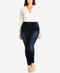 City Chic Trendy Plus Size Harley Dark Denim Wash Skinny Jeans