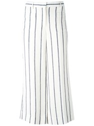 Theory Striped Wide Leg Pants White