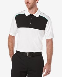 Pga Tour Men's Colorblocked Airflux Golf Polo Shirt Bright White Black