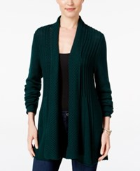 Ny Collection Petite Open Front Pointelle Cardigan Serene Forest