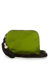 The Row Tassel Silk Satin Wristlet Clutch Green