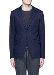 Scotch And Soda Check Felted Jersey Blazer Blue