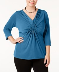Ny Collection Plus Size B Slim Three Quarter Sleeve Top Dazzling Sea