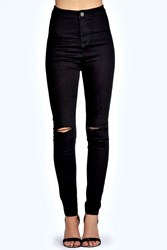 Boohoo Skinny High Rise Tube Slashed Jeans Black