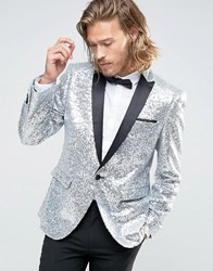Asos Skinny All Over Sequin Blazer Silver