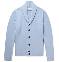 John Smedley Medley Patteron Hawl Collar Merino Wool And Cahmere Blend Cardigan Ky Blue Sky Blue