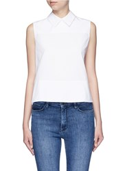 Victoria Beckham Tie Back Poplin Sleeveless Shirt White