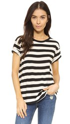 Edith A. Miller Boyfriend Tee Black Natural Wide Stripe