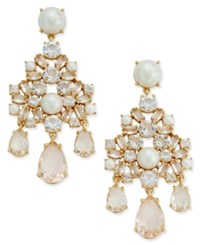 Kate Spade New York Gold Tone Imitation Pearl And Teardrop Crystal Flower Chandelier Earrings Only At Macy's Multi
