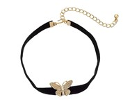 Kenneth Jay Lane 12 Black Velvet Choker With Gold And Crystal Butterfly Front And 4 Extender Chain Necklace Black Necklace