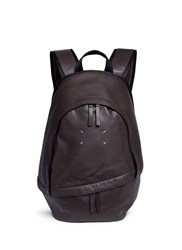 Maison Martin Margiela Asymmetric Zip Pocket Calfskin Leather Backpack Brown