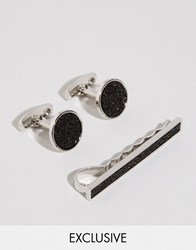Simon Carter Swarovski Cufflink And Tie Slide Gift Set Silver