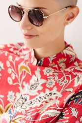 Urban Outfitters Brooklyn Brow Bar Round Sunglasses Brown