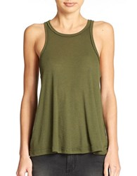 Free People Long Beach Ribbed Tank Top Dark Olive