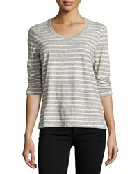 James Perse 3 4 Sleeve Relaxed Tee W Stripes Heather Gray Natural