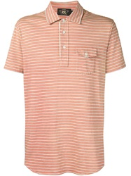 Rrl Striped Polo Shirt Yellow And Orange