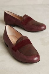 Anthropologie Miss Albright Colorblock Loafers Wine