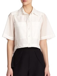 Parker Mayer Cropped Cotton Shirt Ivory